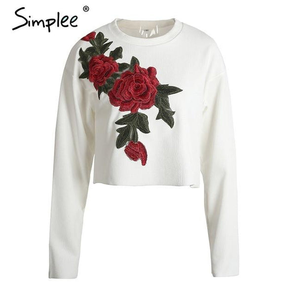 White Floral Embroidery Casual Jumper Tops