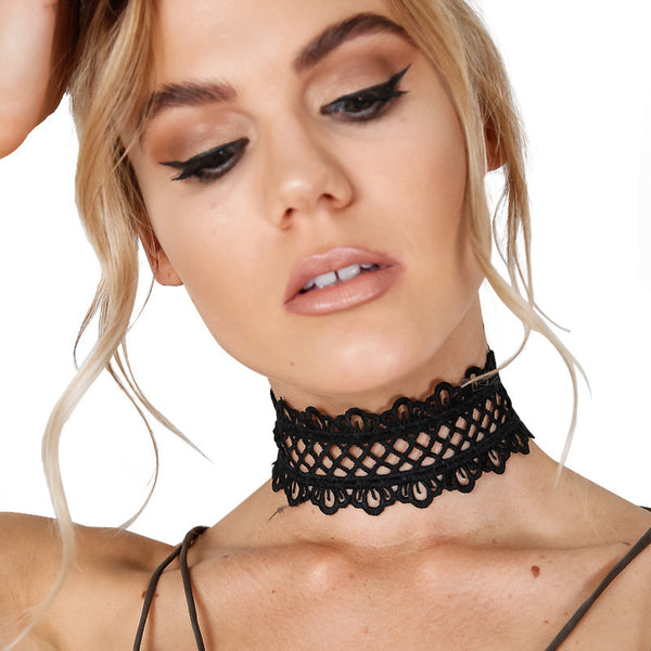 ♡ Lace black necklace punk vintage necklace ♡ - Crystalline