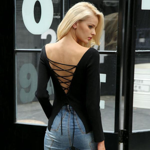 Backless Lace Up Knitting Pullover Top Slit Cuff Winter Sweater Jumper