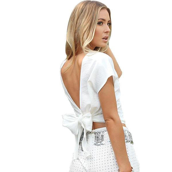 ♡ Backless Casual Cotton White Shirt ♡ - Crystalline