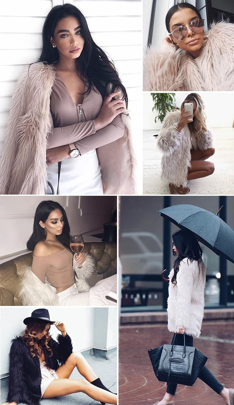 Simplee Elegant faux fur coat women Fluffy warm long sleeve female outerwear Black chic autumn winter coat jacket hairy overcoat - Crystalline