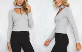 ♡ halter knitted sweater Slim v neck ♡ - Crystalline
