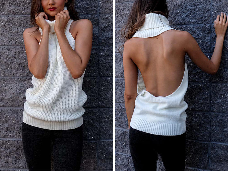 ♡ backless turtleneck knitted sweater ♡ - Crystalline