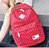 ♡ Canvas Polka Dot Pattern Backpack School Bag Student ♡ - Crystalline