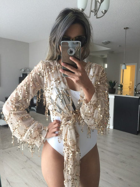 ♡ Shinning Kimonos Sequin Tassel Long Sleeve Crop Top ♡ - Crystalline
