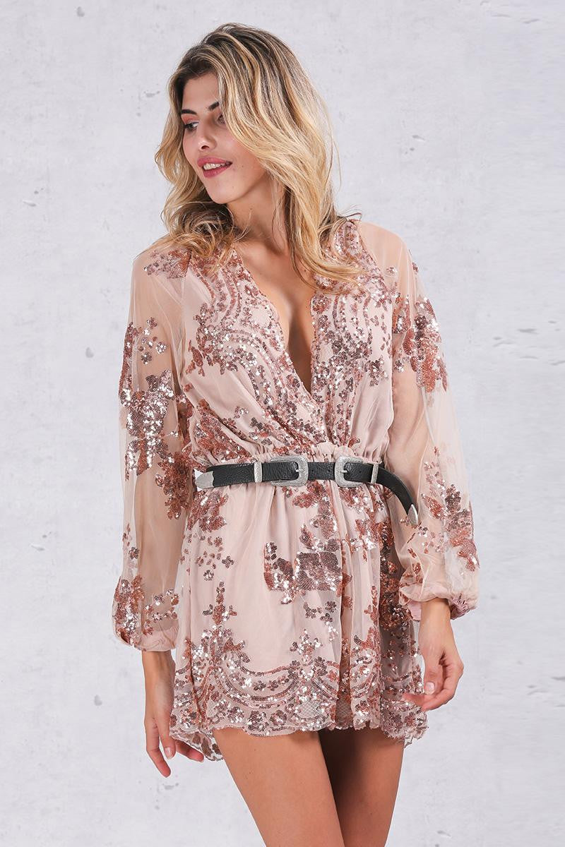 ♡ Gold Sequin Embroidery Party Elegant Jumpsuit Romper ♡ - Crystalline