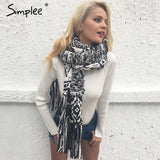 Fall Winter Elegant Scarf Knitted Long Neck Wrap Scarf