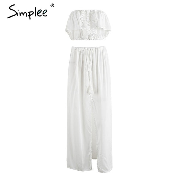 Simplee Casual appliques tassel summer dress suit women Strapless crop top two piece dress 2017 beach party long dress vestidos
