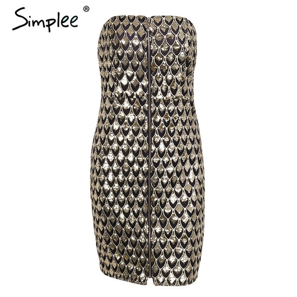 Simplee Sexy strapless sequin winter party dresses women Backless zipper winter club mini dress Robe short dress female vestidos