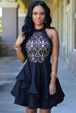 ♡  Black Lace Nude Irregular Layered Skater Dress  ♡ - Crystalline