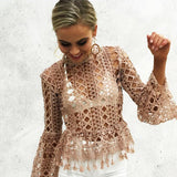 Hollow out lace blouse High neck geometry Top - Crystalline