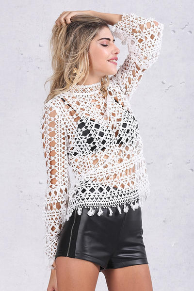 ♡ Hollow out white lace blouse ♡ - Crystalline