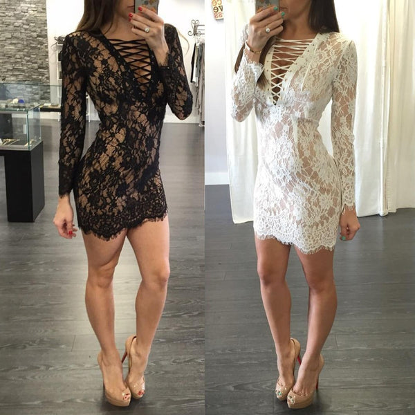 ♡ Bandage Long Sleeve Floral Lace Sexy Party Night Club ♡ - Crystalline