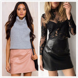 ♡ Leather Skirts High Waist Sexy Vintage A-Line ♡ - Crystalline