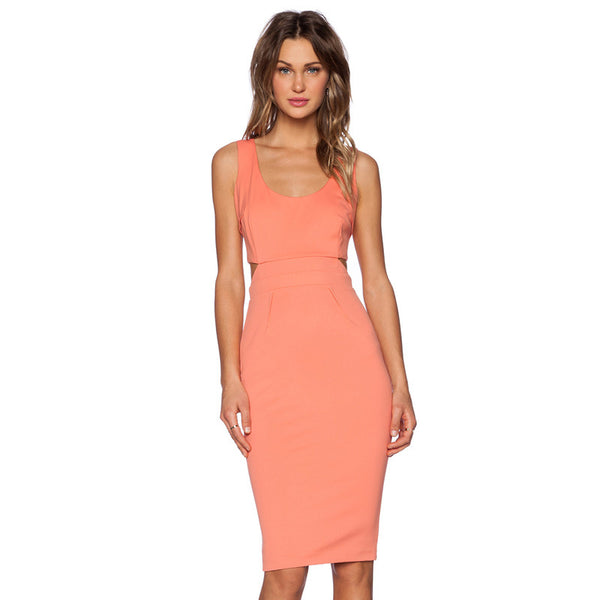 ♡ Backless Halter Coral Bodycon Dress ♡ - Crystalline