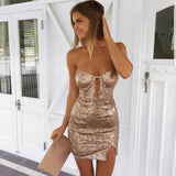 ♡ Sexy sleeveless Bra split sequin dress ♡ - Crystalline