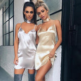 ♡ Sexy Deep V Neck Criss Cross Choker Neck Silk Satin Slip Dress ♡ - Crystalline
