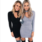 ♡ Winter Autumn Dress Long Sleeve Sexy Party Black Knitted Dress Casual Bodycon Dress ♡ - Crystalline