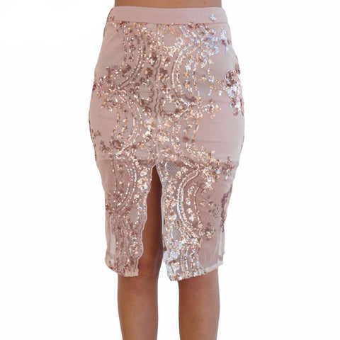 Gold sequin mesh pencil skirt - Crystalline
