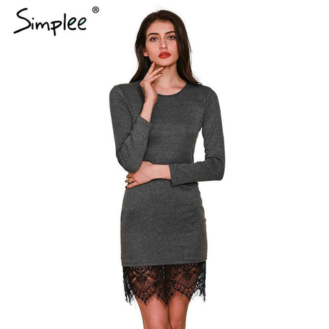 Simplee Apparel Elegant lace gray bodycon dress Christmas evening party long sleeve winter dress Women casual vestidos de fiesta - Crystalline