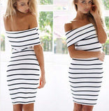 ♡  Women Stripes short Sleeve Mini Casual Off the Shoulder Bodycon Pencil Dress ♡ - Crystalline