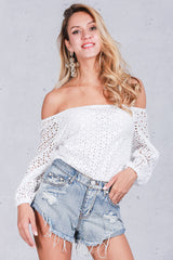 Sexy off shoulder lace blouse shirt - Crystalline