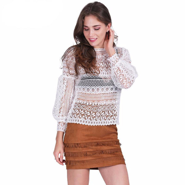 White lace blouse shirt women top Casual hollow out - Crystalline