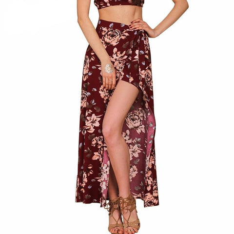 Floral print women bohemian split long skirt - Crystalline