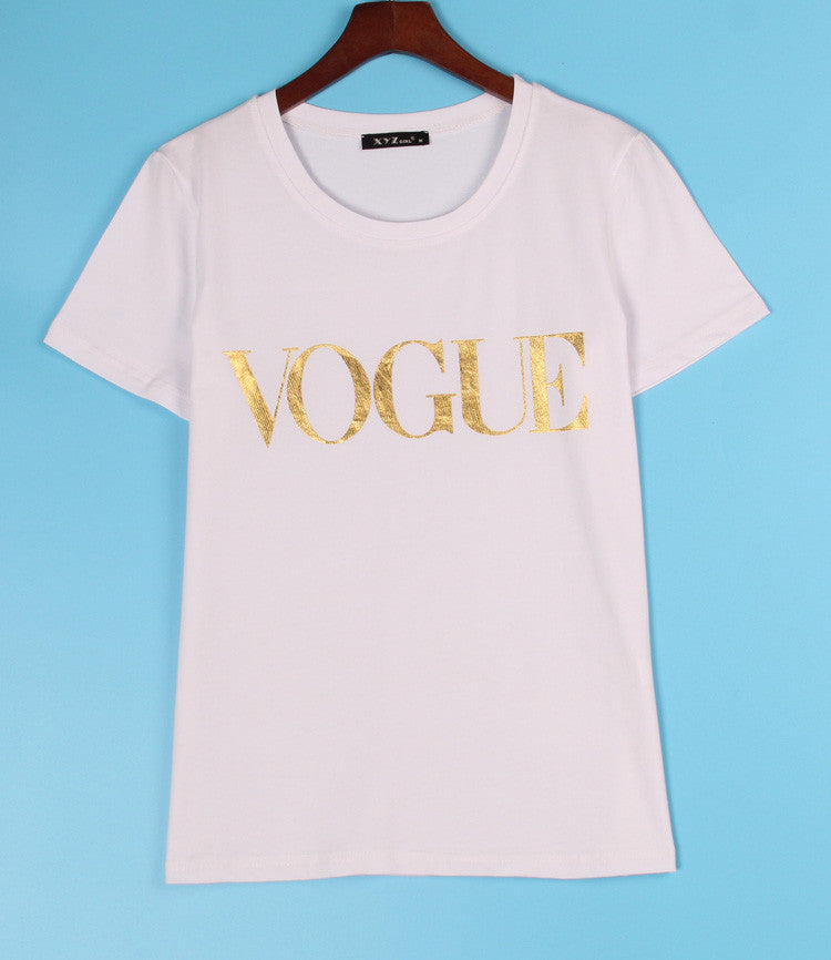 VOGUE Printed T-shirt Women Tops Tee Shirt Femme New Arrivals Hot Sale Casual Sakura - Crystalline