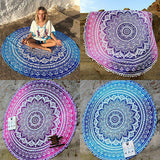 Indian Mandala Round Tapestry Wall Hanging Beach Throw Towel Yoga Mat Boho Decor - Crystalline