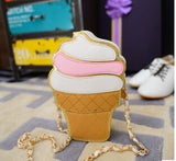New Cute Cartoon Women Ice cream Cupcake Mini Bags PU Leather Small Chain Clutch Crossbody Girl Shoulder Messenger bag LL1168 - Crystalline