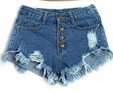 Summer High Waist shorts jeansWash Denim Short Blue Ripped - Crystalline