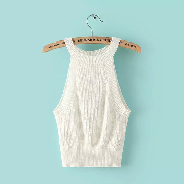 Knitted Bustier Crop Top - Crystalline