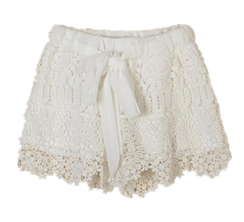 Summer Style Shorts 2016 Fashion Women Casual Lace Drawstring Hollow Out Shorts - Crystalline