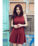 New arrivals 2016 women dresses summer dress fashion sexy red black gray o collar sleeveless mini brief ladies dresses - Crystalline
