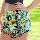 Women High Waist Floral Short Girl Summer Beach Casual Gym Shorts - Crystalline