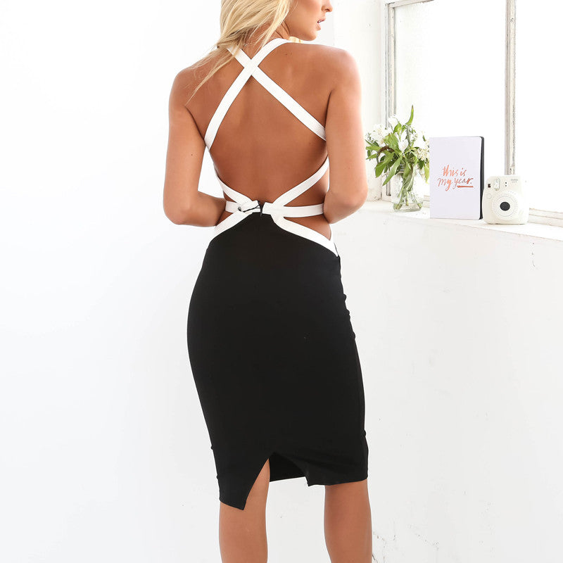 ☀ Make them stare ☀ Women Spring Sexy Bodycon Sleeveless Patchwork Dress Party Summer Slim Bandage Pencil White Black - Crystalline