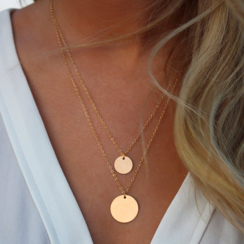 Double Layered Gold Sequin Double Strand Necklace,Layering Disc , Boho Necklace, Beach Jewelry - Crystalline
