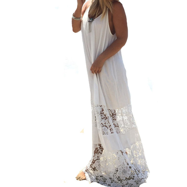 Summer Style Beach Dress 2016 Women Casual Loose Blackless Solid Patchwork Lace Sexy Straps Long Maxi White Dress Vestidos Hot - Crystalline