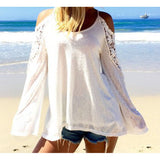 New 2016 Spring Summer  Women Blouses Off Shoulder Loose Sexy Lace Blouse Long Sleeve Beachwear - Crystalline
