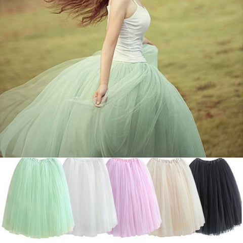 2016 Womens Lace Princess Fairy Style 5 layers Voile Tulle Skirt Bouffant Puffy Fashion Skirt Long Skirts summer free shipping - Crystalline