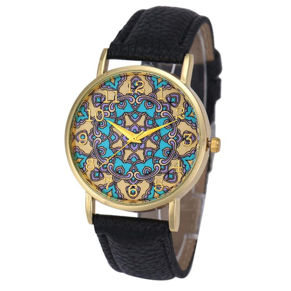 Retro Totem Dial Watch Women Dress Wristwatch Clock Relogio Feminino Women's Casual Sports Watches Men Quartz-Watch - Crystalline