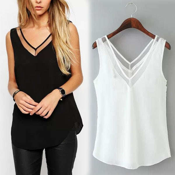2016 New Spring Summer Women's Solid Color V-neck Chiffon Blouse Stitching Gauze Halter Vest Free Shipping - Crystalline