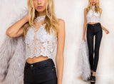 Elegant White Lace Crop Top Summer Beach Backless Top - Crystalline