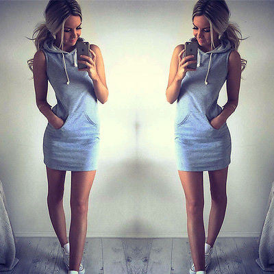 Hoodie Short Shirt Mini Dress - Crystalline