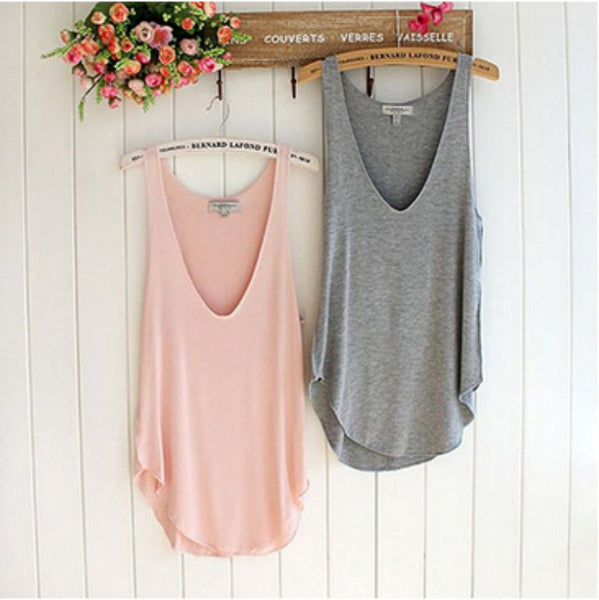 Fashion Summer Woman Lady Sleeveless V-Neck Candy Color Vest Loose Tank Tops Summer Style - Crystalline