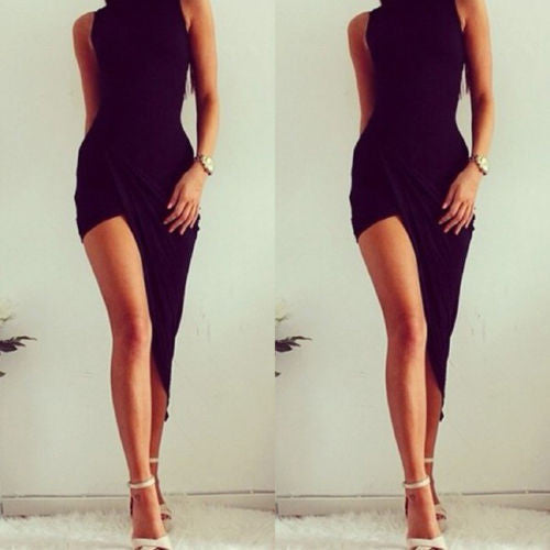 Sexy Elegant Black Party Dresses Women Party Solid Dress NEW Summer Lady Wear Slim - Crystalline
