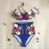☀ Happiness is a day at the Beach ☀High Waist Swimwear Vintage Floral Print Push Up Bikini Set Women 2016 - Crystalline