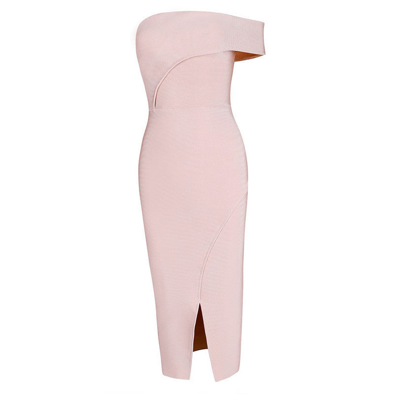 ☀ Make them stare ☀ Nude Off Shoulder Elegant Luxury Bodycon Sexy Cocktail Party Bandage Dress - Crystalline