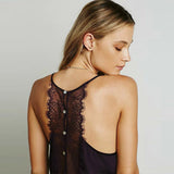 Sexy Backless Eyelash Lace Halter Bra Crop Tank Bustier Buttons Back Spaghetti Strap Short Camisa - Crystalline